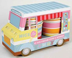 Ice Cream Van Ice Cream Cups | 12ct for $11.95 in Popcorn, Cotton Candy & Sno-Cone Supplies - Party Fun Ice Cream Van, Ice Cream Bowl, Cream Cups, Cream Bowls, Ice Cream Party, Cute Packaging, Brand Packaging, Ice Cream Packaging, Packaging Ideas