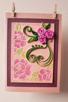 Mothers day card, Happy Birthday card, Flowers card, Roses card, Greeting card, Handmade card, Crafted card, Quilled card by AlluyaHandmadeArt on Etsy