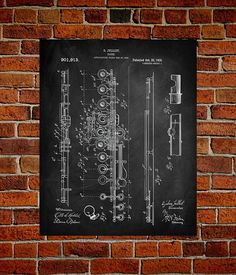 Really cool blueprint art of different instruments from this Etsy shop...Flute Art Print  Patent Flute Vintage Art  by PatentPrintsUSA