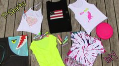 DIY Clothes! 5 DIY T Shirt Projects. In this Fashion DIY I show 5 ways to recycle (revamp) your old T-shirts into fashionable pieces of clothing. You will learn how to make a spiral dyed fringed T Shirt, muscle T, American flag shirt, halter top and knotted smiley shirt.