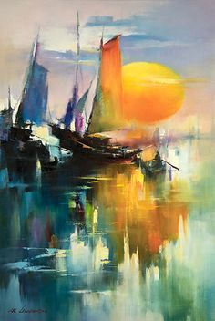 art abstracto Reflection of Sails Landscape Art, Landscape Paintings, Reflection Art, Sailboat Painting, Boat Art, Seascape Paintings, Art Paintings, Beautiful Paintings, Watercolor Paintings