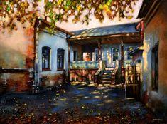Картина живопись : Осенний дворик
