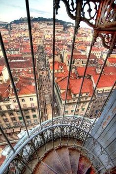 Lisbon Old downtown and the medieval castel from the top of the St Justa lift - Different perspectives, the same beauty . .. #Portugal by RamonaS