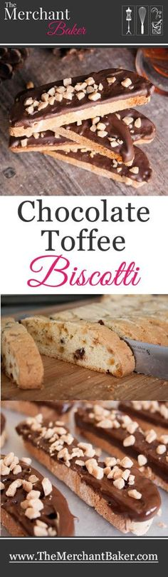 Chocolate Toffee Biscotti. Crispy biscotti with toffee and chocolate both in and on the cookie. Perfect for dunking into your favorite hot beverage!