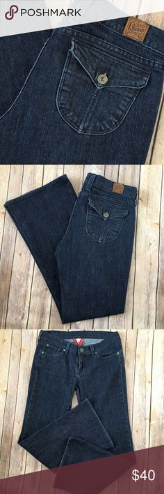 """Lucky Brand Jeans Zoe Jean Dark Flap Pockets Tag Size - 8/29 Waist Measured Across - 16"""" Inseam - 30"""" Rise - 8"""" Great used condition! Always open to reasonable offers. Lucky Brand Jeans Boot Cut"""