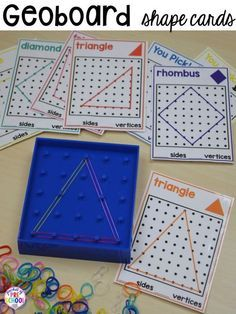Shape geoboard cards plus more 2D Shapes activities for preschool, pre-k, and kindergarten. Shape mats (legos, geoboards, etc), play dough mats, posters, sorting mats, worksheets, & MORE.