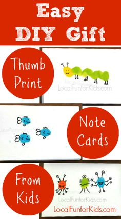DIY Thumb Print Note Cards From Kids - An Easy and Creative Homemade Gift for Grandparents, Parents, Aunts, and Teachers.