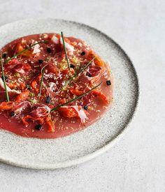 Tuna, black garlic, iberico ham, chive