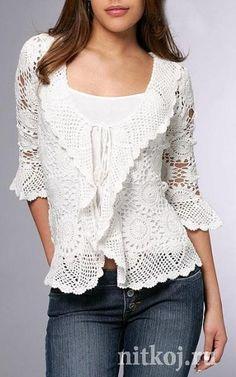 Lace top blouse, jacket crochet handmade , custom made . Shrug Bolero by Irenastyle via Etsy Cardigan Au Crochet, Gilet Crochet, Crochet Jacket, Crochet Cardigan, Crochet Shawl, Hand Crochet, Knit Crochet, Crochet Gratis, Crochet Tops
