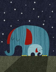 Retro Animals Elephant by Rebecca Elliott Canvas Art