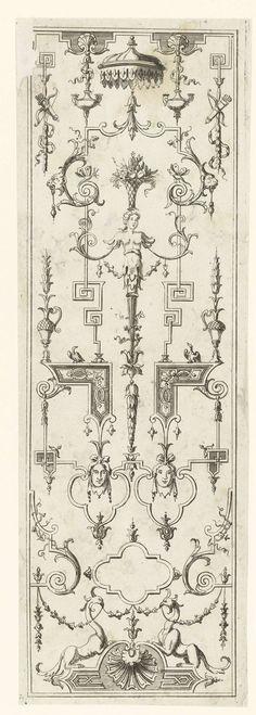 Moderne grotesken met vrouwelijke herme, Jeremias Wolf, Jean Bérain (le Vieux), after 1673 - before 1724
