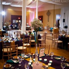 Wedding reception in a church gym - drapery and mood lighting helped to transform the room!