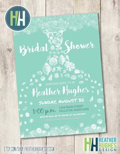 Rustic beach bridal shower invite printable invitation seashell beach bridal shower invite printable invitation beach shabby chic seashells mint and white seashell dress beach wedding invite personalize filmwisefo Image collections