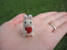 Needle Felted Bunny With Heart Miniature by LittleElfsToyshop