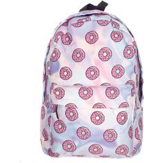 Donut Backpack ($22) ❤ liked on Polyvore featuring bags, backpacks, day pack backpack, pink backpack, rucksack bags, pink bag and knapsack bag