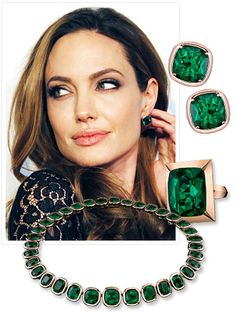 ANGELINA JOLIE WITH GREEN EARRINGS AND A GREEN NECKLACE.