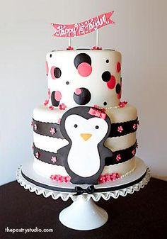 1st birthday penguin cake