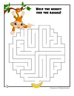 Easy Kids Mazes Easy Monkey Maze – Fantasy Jr.