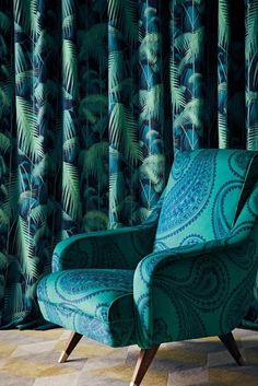 Palm Jungle by Cole & Son - Viridian - Fabric : Wallpaper Direct Cole And Son, Wingback Chair, Armchair, Chair Upholstery Fabric, Dyi, Contemporary Fabric, Décor Boho, Bathroom Trends, Of Wallpaper