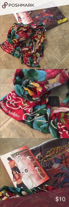 Ed Hardy by Christian Audigier Scarf Red multicolored print, authentic, NWOT, approximately 80 inches long, 💯 cotton. Thanks for looking! 💕 Ed Hardy Accessories Scarves & Wraps