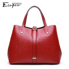 ESUFEIR Women Handbag Genuine Leather Serpentine Shoulder Bag Famous Brand Design Women Bags Fashion Crossbody Bag For Women