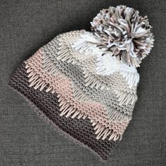 Best Cost-Free Crochet Hat with pom pom Suggestions Crochet Pattern Chevron Pom Pom Hat Toque PDF: The Mya Hat Crochet Beanie, Knitted Hats, Knit Crochet, Knitted Dolls, Easy Knitting Projects, Crochet Projects, Pom Pom Hat, Crochet Crafts, Crochet Clothes