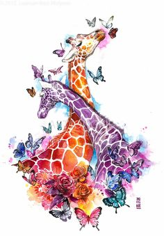 Mesmerizing Animal Watercolor Portraits by Luqman Reza Indonesia-based artist and illustrator Luqman Reza a.a Jongie paints surreal watercolor portraits of animals set in a fantasy landscape. Watercolor Animals, Watercolor Art, Giraffe Pictures, Giraffe Art, Giraffe Drawing, Giraffe Painting, Elephant Art, Watercolor Portraits, Embroidery Kits