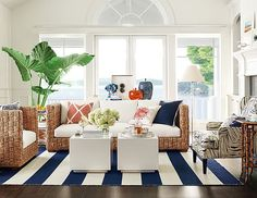 Williams And Sonoma Rattan Navy And Coral Family Room