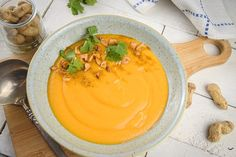 With the creamy peanut butter, spicy chili powder and black pepper, this soup is packed with flavor and nutrients. Peanut Butter Soup, Chunky Peanut Butter, Creamy Peanut Butter, Fall Recipes, Soup Recipes, Spicy Chili, Fresh Garlic, Chili Powder