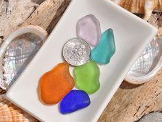 5 Sea Glass Pieces Rare Colours Authentic by BeachBountySeaGlass
