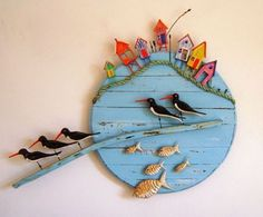 Tony Britnell - Five oyster catchers, fish and beach huts - Tony Britnell – Five oyster catchers, fish and beach huts You are in the right place about diy clo - Beach Crafts, Diy And Crafts, Arts And Crafts, Paper Crafts, Art Projects, Projects To Try, Driftwood Crafts, Wooden Art, Pebble Art