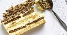 Ένας υπέροχος κορμός ψυγείου με μπισκότα και μια αφράτη, δροσερή κρέμα ζαχαροπλαστικής. Μια εύκολη συνταγή (αρχική ιδέα προσαρμοσμένο από εδώ) για ένα τέλε Nutella, Tiramisu, Sweets, Sugar, Cheese, Ethnic Recipes, Food, Drinks, Recipies