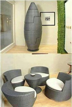 This Set Of Chairs And Small Table Are Curved Smooth In Their Design The Way They Fit Together Into A Space Saving Egg Gives It Soft
