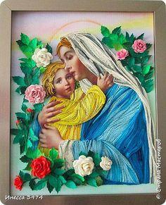 Картина панно рисунок Квиллинг Мадонна с ребёнком Бумага фото 4