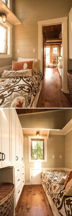 Main floor bedroom with large amount of storage including under bed drawers.