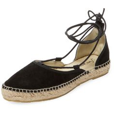 Free People Women's Espadrille Marina Lace-Up Ballet Flat - Black -... ($49) ❤ liked on Polyvore featuring shoes, flats, black, black suede shoes, ballet shoes, black shoes, ballet pumps and black espadrilles