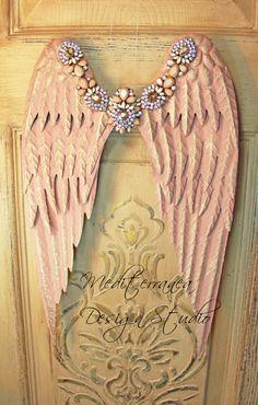 Metal angel wings, distressed wings, embellished angel wings, angel wing wall decor, Mediterranea Design Studio, pink angel wings