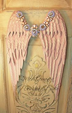 Metal angel wings, distressed wings, embellished angel wings, angel wing wall decor, Mediterranea Design Studio, pink angel wings