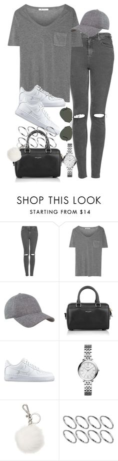 """""""Untitled #1564"""" by sarah-ihab ❤ liked on Polyvore featuring Topshop, T By Alexander Wang, Yves Saint Laurent, NIKE, FOSSIL, Michael Kors, ASOS, Ray-Ban, women's clothing and women's fashion"""