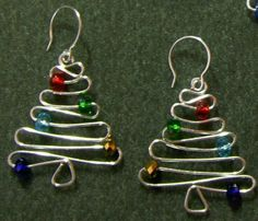 Wire Christmas tree (earrings)
