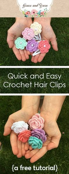 Quick and easy crochet hairclips, two flowers to choose from! These are great for photo shoots, every day wear, gifts and craft fairs! Mix up the colors to match holidays or add to other hair accessories for more variety!
