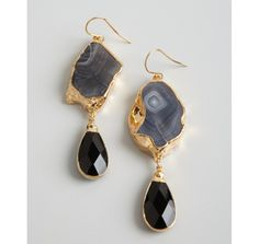 Janna Conner grey botswana and black agate drop earrings earring
