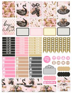 Planner stickers swan lake