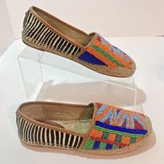 81961d6f7454 Sam Edelman Espadrille Shoes Tribal Beaded Sz 6M Striped Women Fur EU 36  Leather