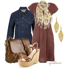 Day Dress With Denim Jacket, created by cynthia335 on Polyvore