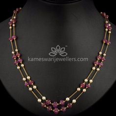 Gold Chain Ruby Flower Beads Chain - Length of the chain inches Gold Chain Design, Gold Jewellery Design, Bead Jewellery, Beaded Jewelry, Glass Jewelry, Jewelry Necklaces, Gold Jewelry Simple, Ruby Jewelry, Silver Jewelry