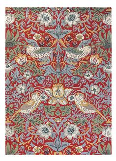 Strawberry Thief x Rug in Crimson All rugs are hand-tufted. Drop ship in days. Backing Material: cotton and latex. Victorian Rugs, Victorian House, Victorian Era, Morris Homes, Red Home Decor, Burke Decor, Floral Rug, Red Rugs, Arts And Crafts Movement