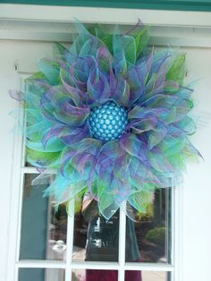 My flower deco mesh wreath!