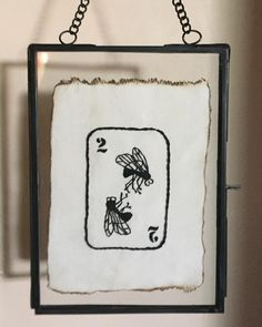 Fly playing card embroidery by @dominowhisker on Instagram