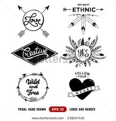 Hand drawn tribal design vector elements. Aztec logos and badges. Arrow wreath. Feather and arrows frame. - stock vector